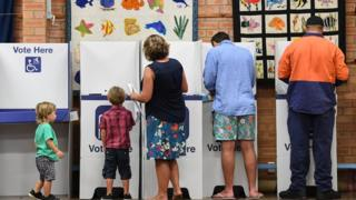 MARCH 23: Voters heading to cast their vote at Culburra Public School in the electoral district of South Coast on March 23, 2019 in Culburra Beach, Australia.